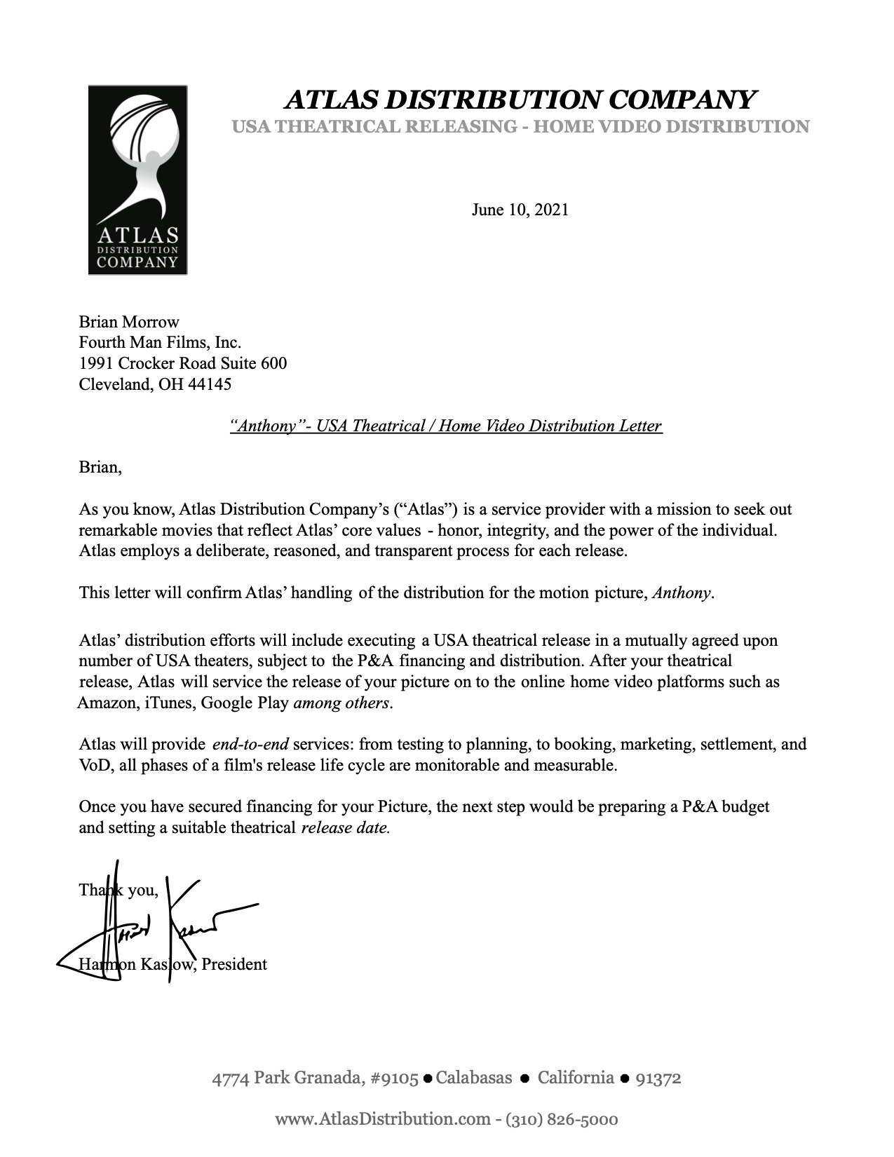 Atlas Distribution Letter